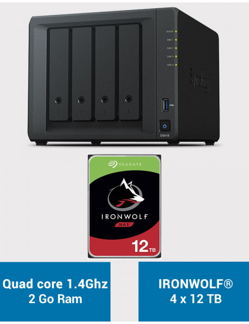 Synology DS418 Serveur NAS IRONWOLF 48To (4x12To)