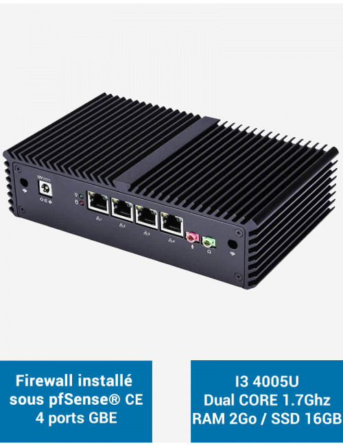 Firewall E-WALL Q3I340 under pfSense® CE 2 ports 2GB SSD 16GB